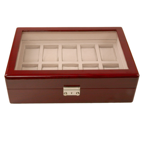10 Watch Box for Cherry Finish Window Extra Clearance - Main