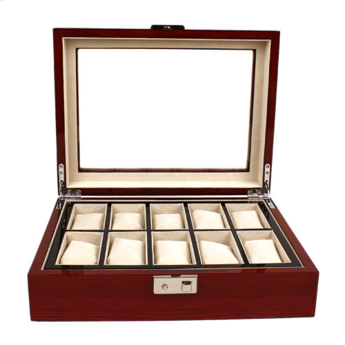 10 Watch Box Removable Tray Large Compartment Window Mahogany - Main