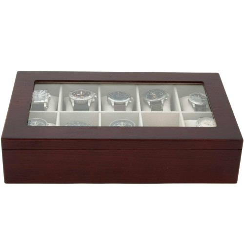 Watch Box for 10 Wood Finish XL Extra Large Compartments Fits 63mm Soft Cushions Glass Window - Cherry Finsh