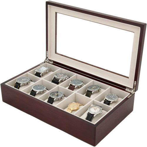 10 Watch Box XL Wide Compartment Clearance Cherry Tech Swiss - Main