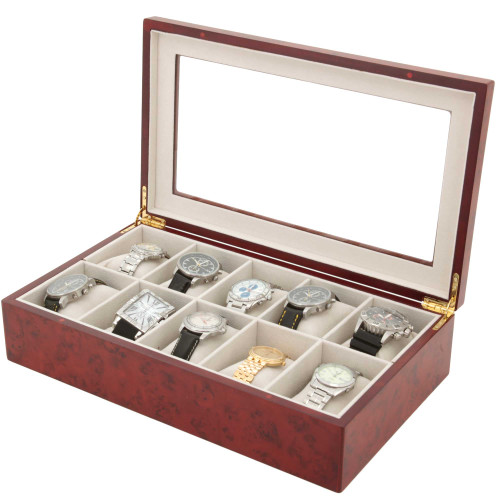 10 Watch Box XL Wide Compartments Clearance Burl Wood Tech Swiss - Main