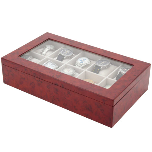 Watch Box for 10 Wood Finish XL Extra Large Compartments Fits 63mm Soft Cushions Glass Window - Burlwood