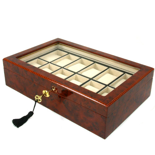 12 Watch Box Removable Tray Window Inlaid Burl Wood Tech Swiss - Main