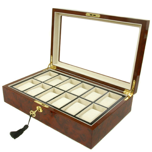 12 Watch Box Removable Tray Window Inlaid Burlwood Tech Swiss