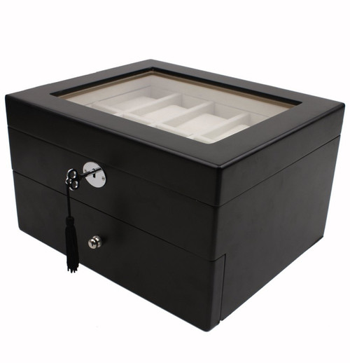 20 Watch Box Glass Window Extra Clearance Key Black Finish - Main