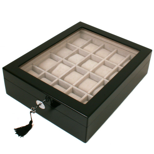 20 Watch Box Single Level Window Extra Clearance Lock Black Finish - Main