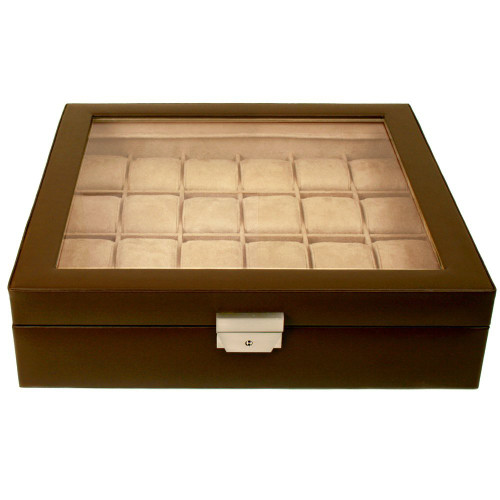 24 Watch Box Leather Single Level XL Watch Box in Espresso Brown