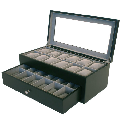 24 Watch Box XL Wide Compartment Clearance Black Tech Swiss