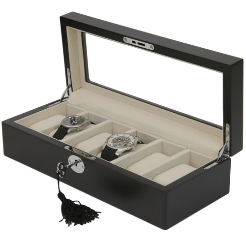 6 Watch Box Black Finish Display Window silver tone Hardware