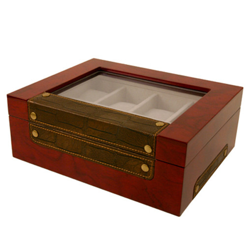 8 Watch Box XL Compartments Clearance Burl Wood Leather - Main