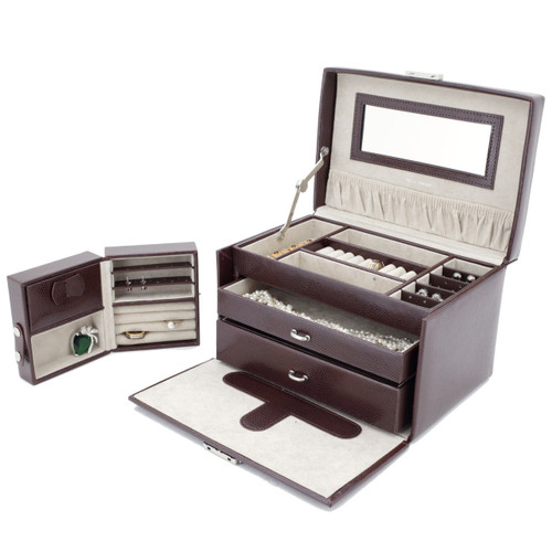 Brown Leather Jewelry Chest with Travel Case by Tech Swiss | TS382BRN | Open with Travel Case