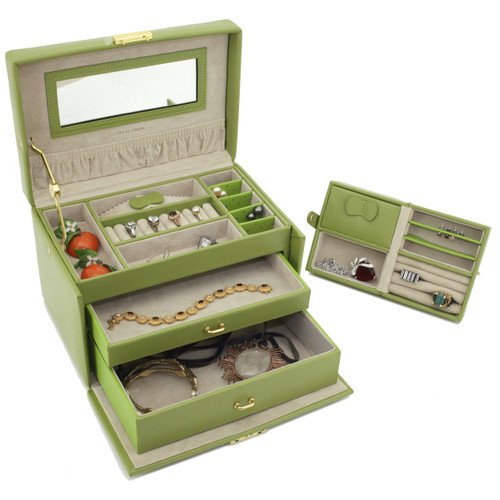 Lime Green Leather Jewelry Chest with Travel Case | Tech Swiss TS382LME | Side Front