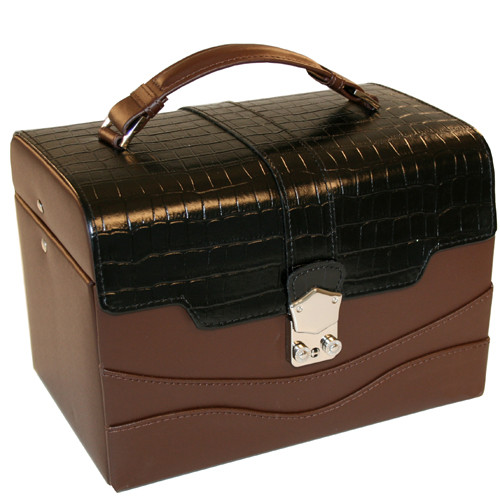 Tech Swiss Jewelry Box Leather EsPresso Brown Crocodile Trim - Front Photo