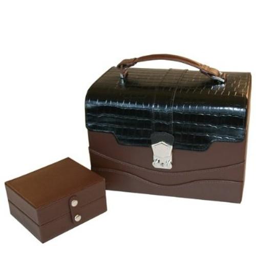 Tech Swiss Jewelry Box Leather EsPresso Brown Crocodile Trim - Travel Case