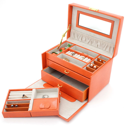 Orange Lizard Grain Leather Jewelry Box from Tech Swiss | TS382OGE | Side Open