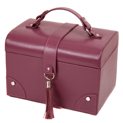 Bucasi Jewelry Box Leather Plum Matching Stitching Tassel Buckle - Main