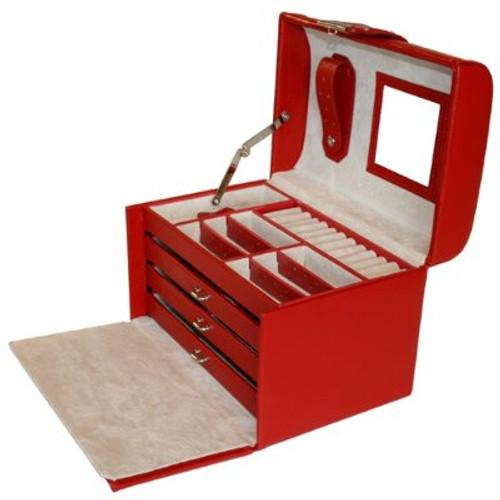 Tech Swiss Jewelry Box in Red Leather Crocodiledile Grain - Main