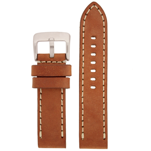 Tan Leather Watch Band with white Topstitching - Top View