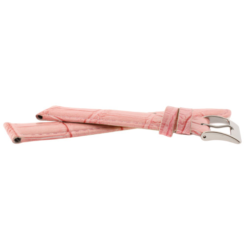 Pink Leather Watch Band with Alligator Grain - Side View