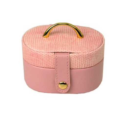 Mini Jewelry Box Case Gift for Jewelry Oval Pink Leather