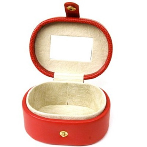 Mini Jewelry Box Case Gift for Jewelry Oval Red Leather - Main