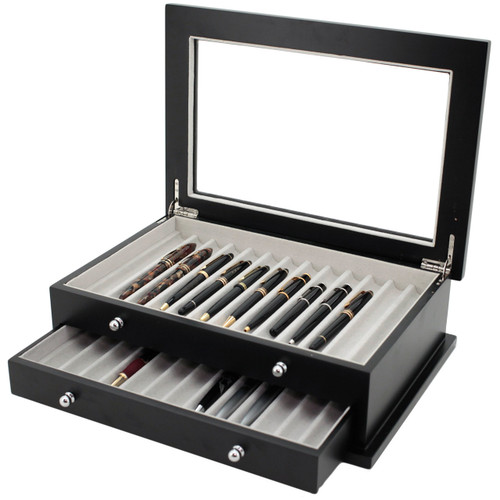 Matte Black Pen Display Case | TSBXPN26BK | Tech Swiss | Main