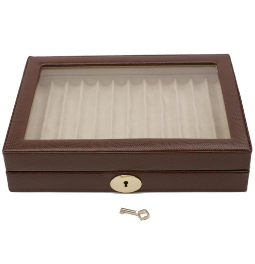 Display Case Pens Leather Glass Window - Brown