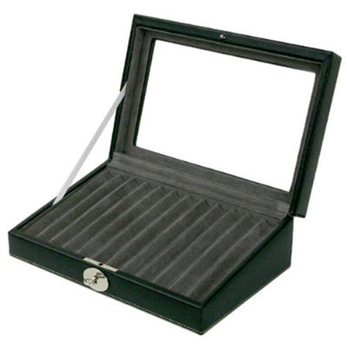Display Case Pens Leather Glass Window - Black