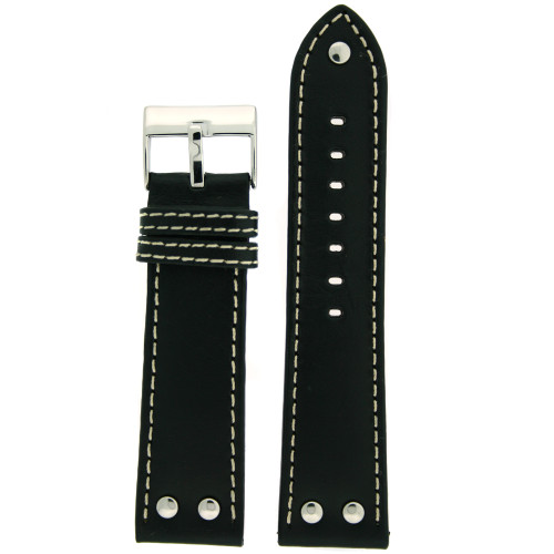 Leather Pilot Watch Band in Black by Tech Swiss - Top View