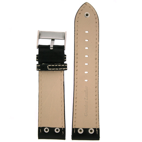 Leather Pilot Watch Band in Black by Tech Swiss - Bottom View - Main