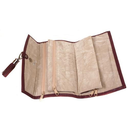Plum Leather Jewelry Travel Bag - Main