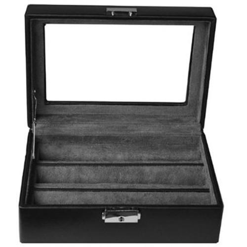 Ring Earring CuffLinks Box Storage Case Leather Black