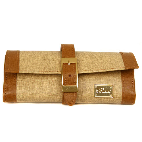 Tan Brown Leather Jewelry Travel Bag - Front