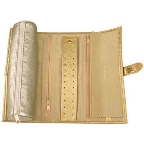 Travel Jewelry Roll Leather Compact Metallic Gold Silver - Main