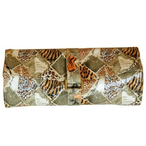 Travel Jewelry Roll Organizer Leopard Print