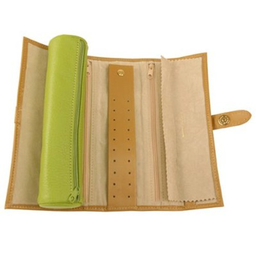Travel Jewelry Roll Up Leather Compact Lime - Main