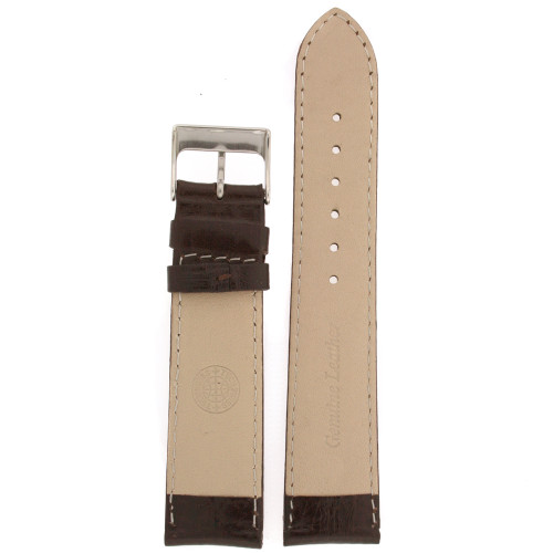 Watch Band Calfskin Leather Dark Brown Comfort padded - Main