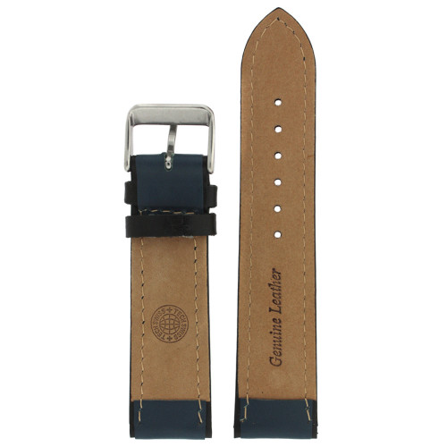 Sporty Leather Watch Band in Blue - interior view - Main