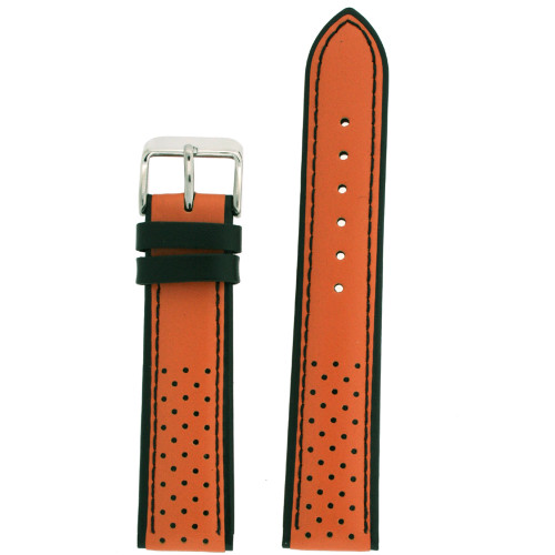 Sporty orange watch band with perforated black design and contrast trim - front view