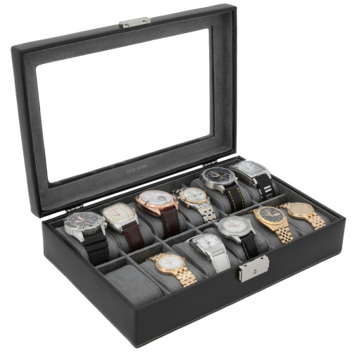 Watch Box Storage Case Black Leather 12 Watches - Main