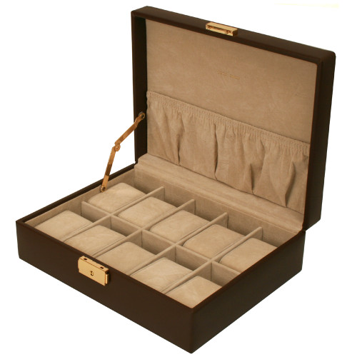 Watch Box Storage Case Leather for 10 Watches With Lined Pocket