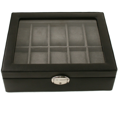 Watch Box Storage Case Leather for 10 Watches With Lucite Window - Main