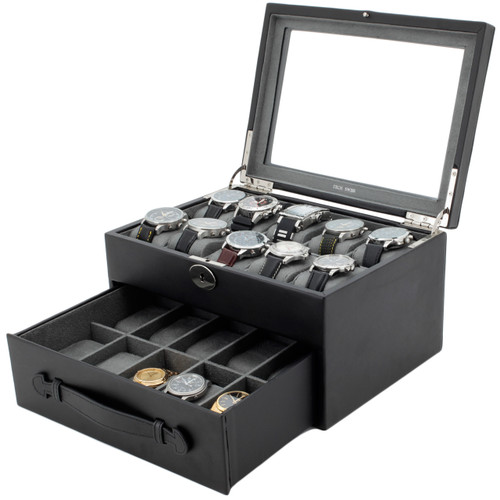 Watch Box Storage Case Leather for 20 Watches Black - Main