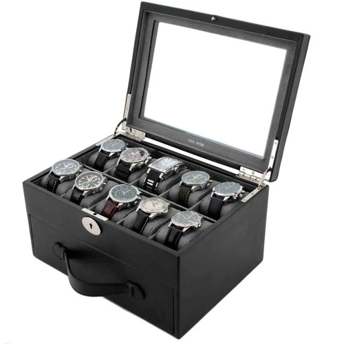Watch Box Storage Case Leather for 20 Watches Black