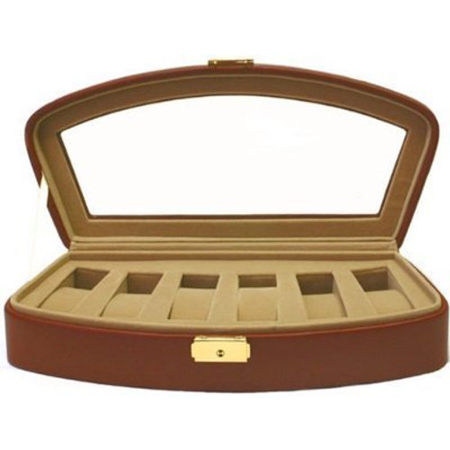 Watch Storage Box Leather Case for 6 Watches Brown - Main