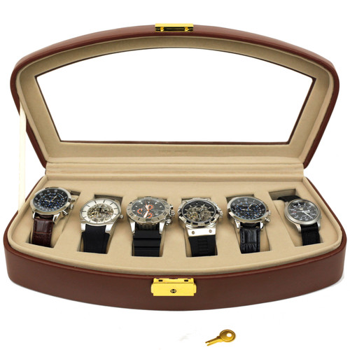 Watch Storage Box Leather Case for 6 Watches Brown -SALE