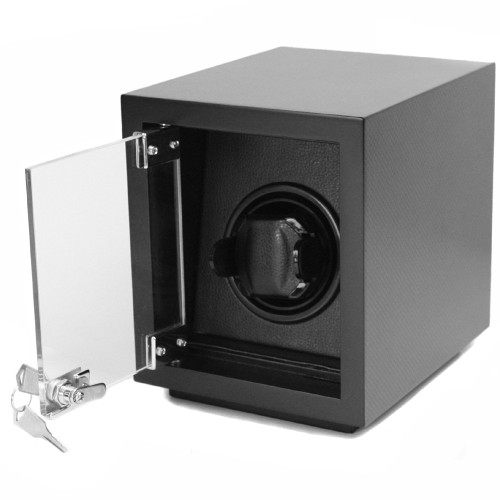 Single Black Wood Watch Winder | Modern Watch Winder in Carbon Fiber Print | Tech Swiss  TSW100CF | Open