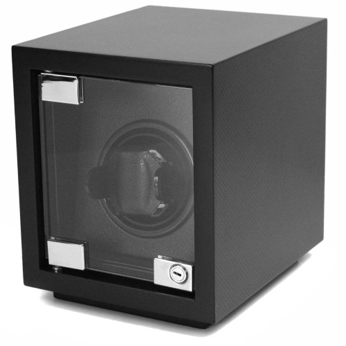 Single Black Wood Watch Winder | Modern Watch Winder in Carbon Fiber Print | Tech Swiss  TSW100CF | Main