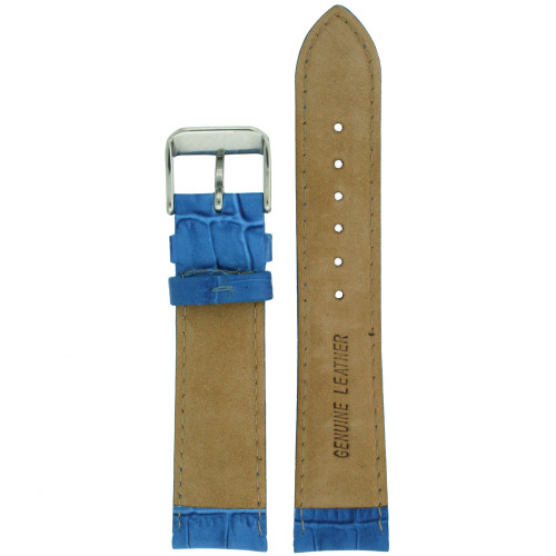 Watch Band Blue Genuine Leather Alligator Grain - Main