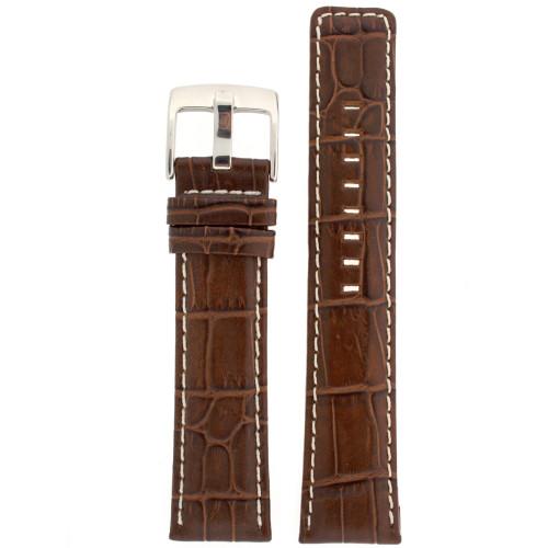 Watch Band Genuine Leather Dark Brown Sports Alligator Grain